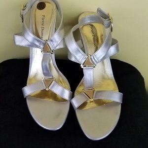 """Pierre Dumas """"Mandy"""" Strappy Silver Sandal Sz:10"""